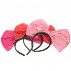 3-Mode 4-LED Blue/Red Light Bowknot Headband for Halloween Costume/Cosplay (3 x AG13/Random Color)