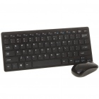 Mini Compact 2.4GHz Wireless Keyboard with Protective Film + Mouse Set - Black (2xAAA/1xAAA)