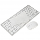 Mini Compact 2.4GHz Wireless Keyboard med Film + mus - Vit (2xAAA / 1xAAA)