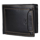 Vintage C-H1002 Genuine Cowhide Leather Wallet - Black