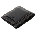 A609-1 Genuine Cowhide Leather Wallet - Black