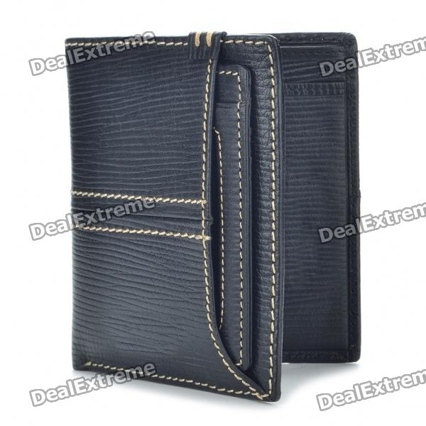 Vintage B-H1002 Genuine Cowhide Leather Wallet - Black