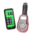 "1.0"" LCD Car MP3 Player FM Transmitter w/ USB/SD/TF Slot - Silver + Red (DC 12~24V)"
