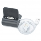 Stylish Aluminum Alloy USB Charging Stand for iPhone 4 - Black