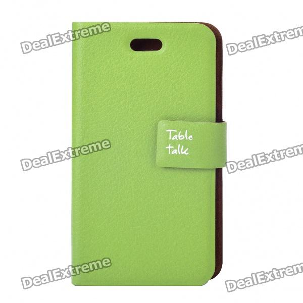 Stylish Protective PU Leather Table Talk Flip Case for Iphone 4 - Dark Green