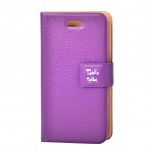 Stylish Protective PU Leather Table Talk Flip Case for iPhone 4 - Purple