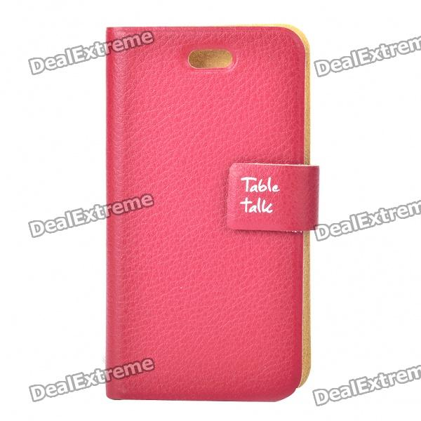 Stylish Protective PU Leather Table Talk Flip Case for Iphone 4 - Dark Red stylish flip open pu leather tpu case w holder for iphone 4 4s red