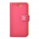Stylish Protective PU Leather Table Talk Flip Case for Iphone 4 - Dark Red