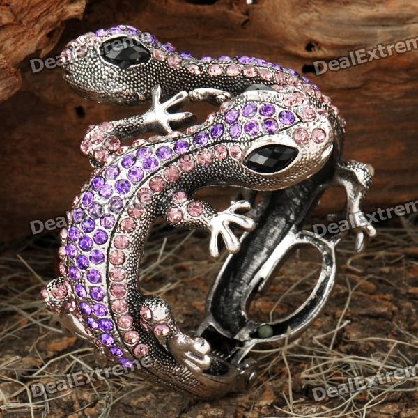 Elegant Double Wall Gecko Style Bracelet with Crystals - Purple + Silver Wichita Falls Buy Ad