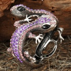 Elegant Double Wall Gecko Style Bracelet with Crystals - Purple + Silver