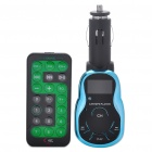 "0.9"" LCD Car MP3 Player FM Transmitter w/ USB/SD/TF Slot - Black + Blue (DC 12~24V)"
