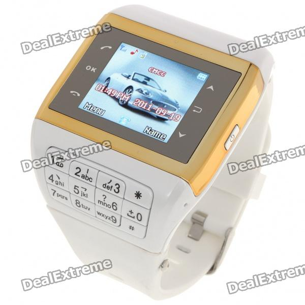 "Q5 Uhr-Art 1.3 ""Touch Screen einzelnes SIM Quadband GSM Handy - Weiß + Golden"