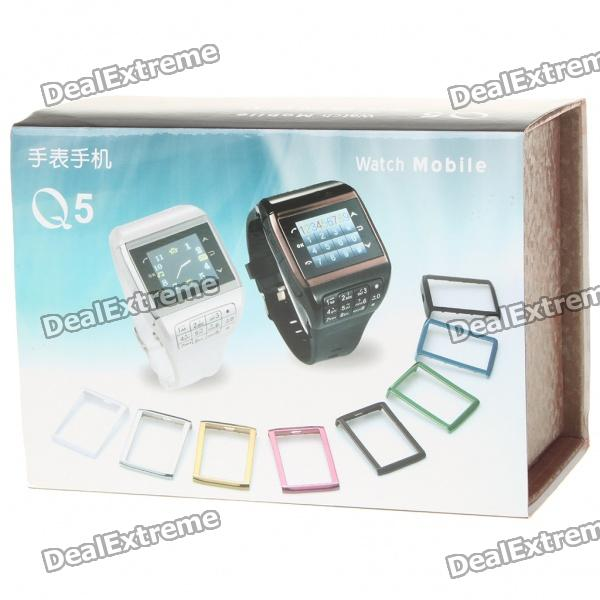 """Q5 Watch Style 1.3"""" Touch Screen Single SIM Quadband GSM Cell Phone - White + Silver"""