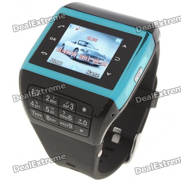 "Q5 Watch Style 1.3"" Touch Screen Single SIM Quadband GSM Cell Phone - Blue + Black"