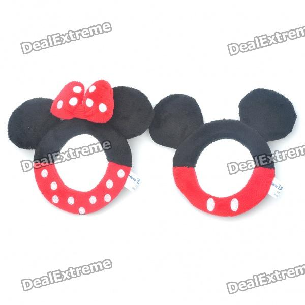 Cute Mickey & Minnie Mouse Style Plush Mirror Keychains (2-Piece Set)