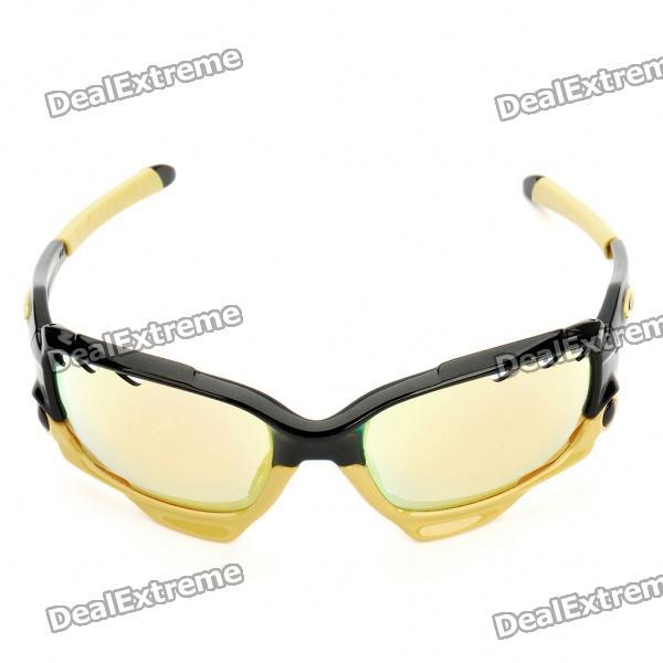 Cycling Bicycle Lens Glasses with Carrying Pouch - Black +Yellow