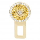 Crystal + Zinc Alloy Car Safety Seat Belt Buckle - Gold + white (Random Style)