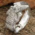 Gorgeous Crocodile Style Diamond Hand Bracelet - Silver