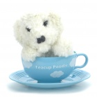 Cute Teacup Poodle Toy w/ Sound Effect - White + Blue (2 x LR44)