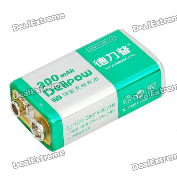 Rechargeable 9V 300mAh NI-MH Battery - Green + Silver