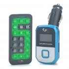 "1.0"" LCD Car MP3 Player FM Transmitter w/ Remote Controller/USB/TF/SD Slot - Blue (DC 12~24V)"
