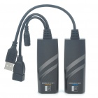 RJ45 Lan Cable Cat 5/5E/6 USB 2.0 Extension Adapter Set w/ Power Adapter (EU Plug)