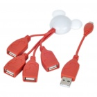 Mickey Mouse Style USB 2.0 High Speed 4-Port Hub - White + Red