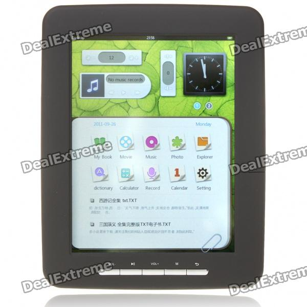 """8,0 """"LCD Touch Screen E-Book Reader Multimedia Player w/TF/3.5mm Audio Jack - Black (4GB)"""