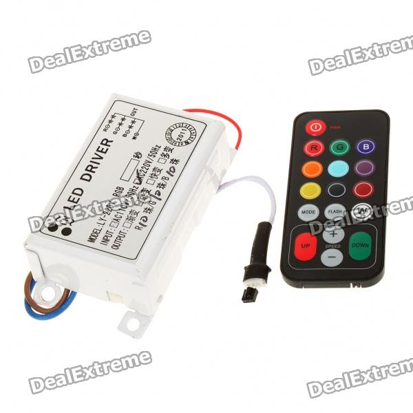 30W RGB LED Control Driver Unit w/ Remote Control for 10 x 3 Strip (AC 110~220V) coospider remote control timer compact quartz uv germicidal cfl lamp light kit 220v 30w sterilizer for disinfect ozone