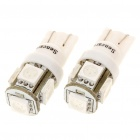 T10 1.5W 60-Lumen 5-5050 SMD LED Green Light Bulb (DC 12V/Pair)