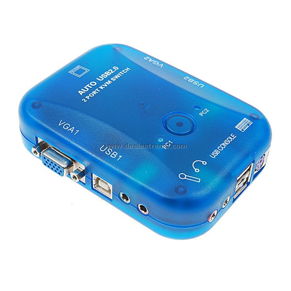 2 Port Automatic USB 2.0 KVM Switch (Transparent Blue)
