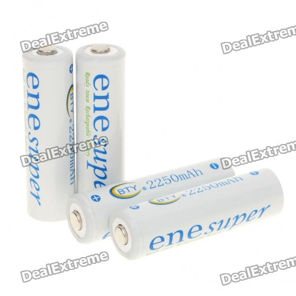 BTY Rechargeable 1.2V 2250mAh AA NI-MH Batteries (4-Piece) ultrafire aaa 1 2v 800mah rechargeable ni mh batteries green black 4 pcs
