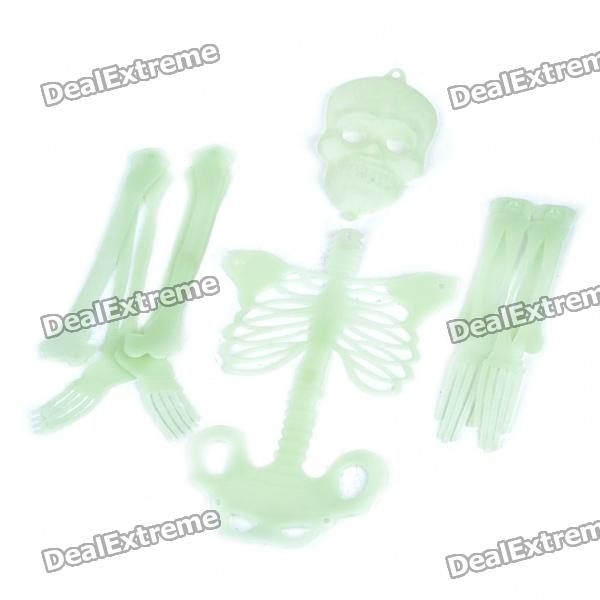 Glow-in-the-Dark Detachable Plastic Skeleton for Halloween Decoration (10-Piece Set)