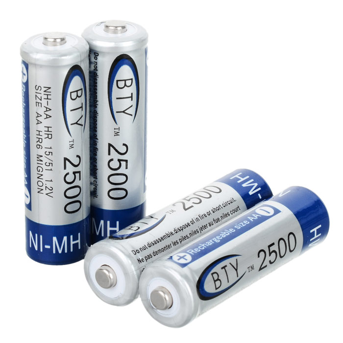 BTY Rechargeable 1.2V 2700mAh AA NI-MH Batteries (4-Piece) bty 1 2v 3000mah ni mh rechargeable aa batteries pair