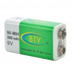 "BTY Rechargeable ""300mAh"" Ni-MH 9V Battery"