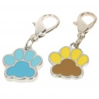 Cute Dog Footprint Style Charm Pendant for Pet Dog Cat - Random Color (2 Piece Pack)