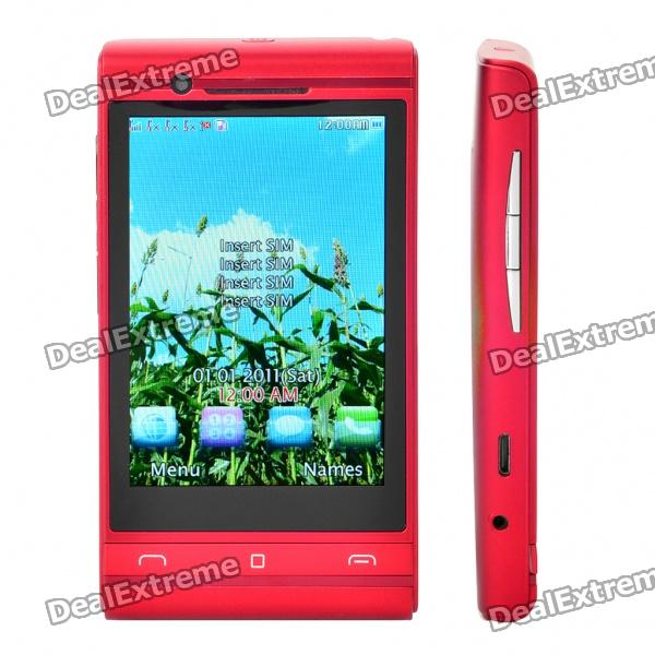 "X12 3.3"" Touch Screen Quad SIM Quad Network Standby Quadband Cellphone w/ Wifi - Red"