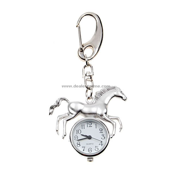 White Silver Horse Quartz Watch Keychain