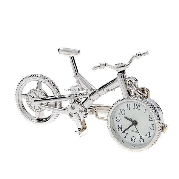 White Silver Bicycle Clock Quartz Keychain