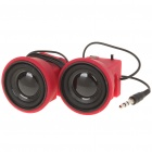 Mini USB Rechargeable Clip-On Speakers for Ipad/Iphone - Red (3.5mm Audio Jack/50cm-Length)