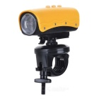 RD32 720P 5MP Wide Angle Waterproof Action Video Camera with 8-LED White Light/AV Out/TF - Yellow