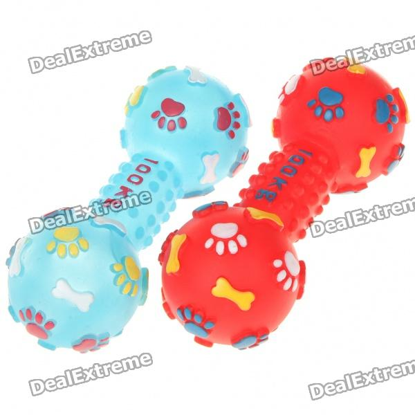 Cut Plastic Sound Making Bone Toy for Pets - Red + Blue