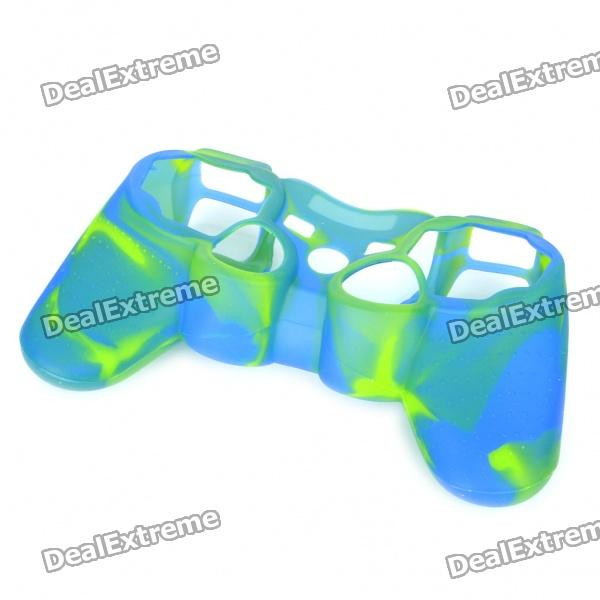 Protective Silicone Case for PS2/PS3 Controller - Blue + Green one piece 1x brand new high quality silicon protective skin case cover for xbox 360 remote controller blue green mix color
