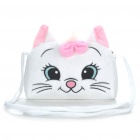 Cute Cat Style Plush Shoulder Bag - White + Pink