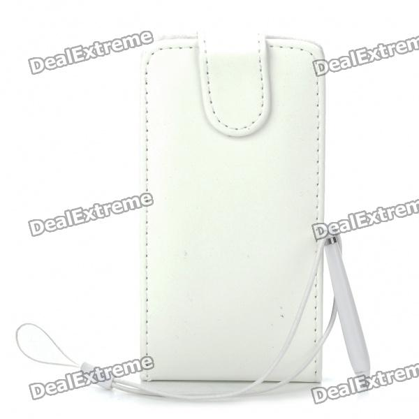 Protective Foldable PU Leather Case with Stylus Strap for Samsung i9100 Galaxy S2 - White