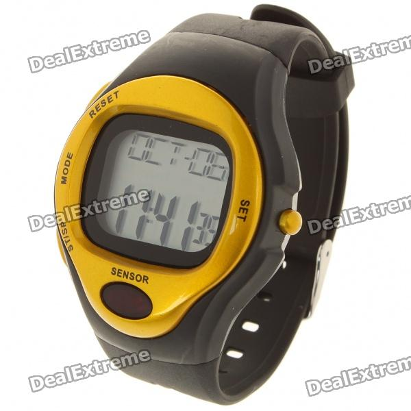 Contact Type Pulse Rate Calories Counter Timer Watch with Alarm - Black + Golden (1 x CR2025) x lander x pulse