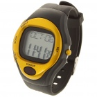 Contact Type Pulse Rate Calories Counter Timer Watch with Alarm - Black + Golden (1 x CR2025)