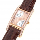 Elegant Women's Watch with Man Made Diamonds (Coffee Colour)