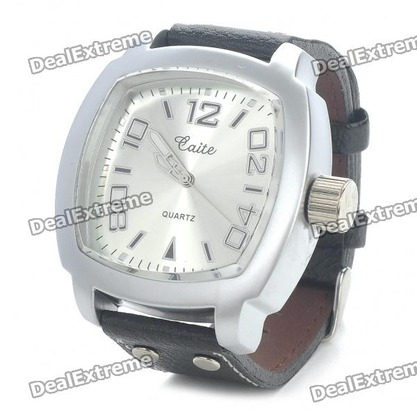 Stylish Water Resistant Stainless Steel Dial Leather Band Quartz Movement Wrist Watch (1 x 377) stylish bracelet band quartz wrist watch golden silver 1 x 377