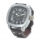 Stylish Water Resistant Stainless Steel Dial Leather Band Quartz Movement Wrist Watch - (1 x 377)